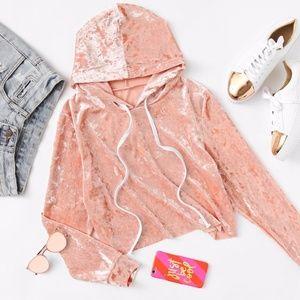 Sweaters - NEW PINK VELVET CROP HOODIE
